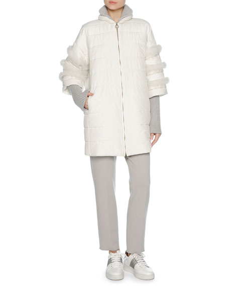 Agnona Puffer Jacket with Fox Fur Trim, White