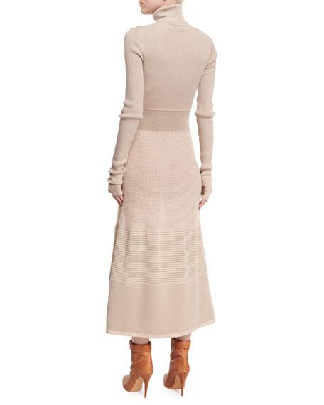 Long-Sleeve Lurex® Knit Turtleneck Midi Dress, Gray