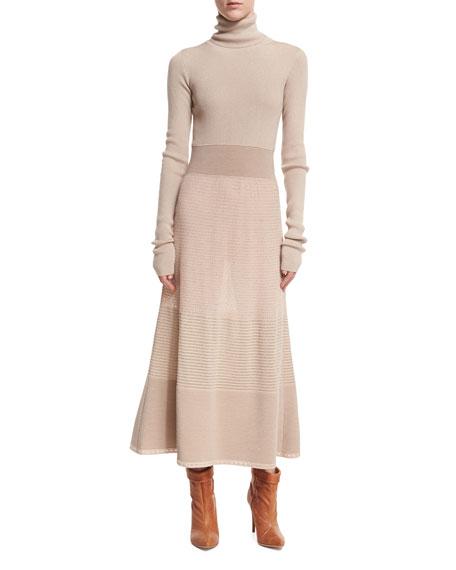 Agnona Long-Sleeve Lurex?? Knit Turtleneck Midi Dress, Gray