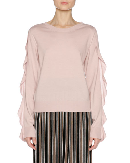 Ruffle-Sleeve Crewneck Sweater