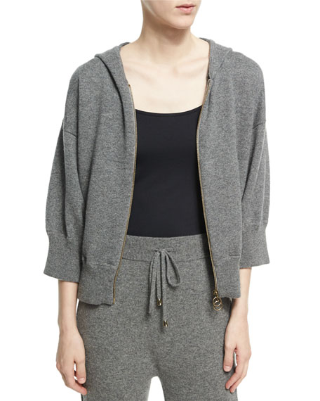 Agnona Cashmere-Wool Cropped Zip-Front Hoodie