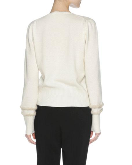 City Cashmere Sweater with Mink Fur Trim, Multi