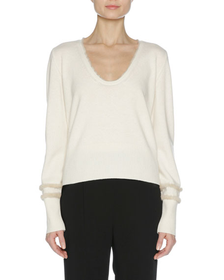 City Cashmere Sweater with Mink Fur Trim
