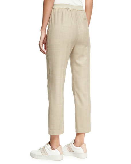 Herringbone Sporty Ankle Pants, Camel