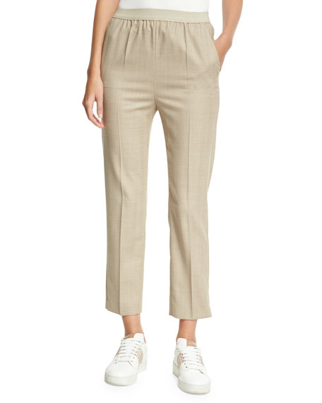 Agnona Herringbone Sporty Ankle Pants, Camel