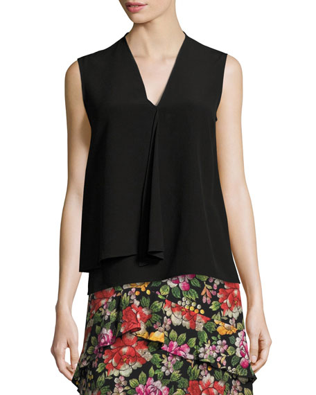 Etro Draped Silk Sleeveless V-Neck Top, Black