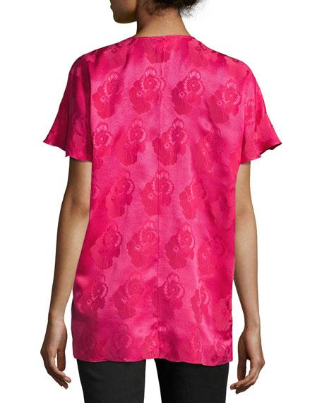 Short-Sleeve Tonal Floral Jacquard Silk Blouse, Hot Pink