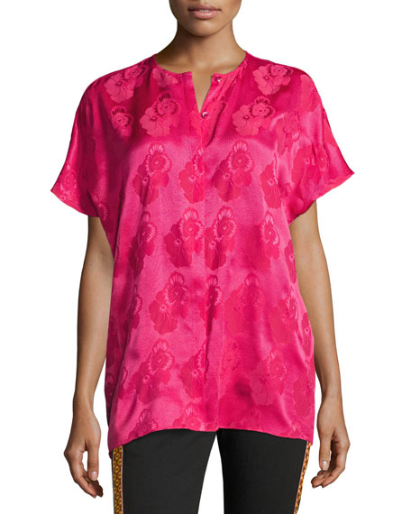 Etro Short-Sleeve Tonal Floral Jacquard Silk Blouse, Hot
