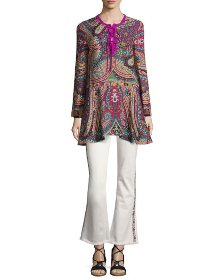 Etro Floral-Trim Flare-Leg Jeans and Matching Items