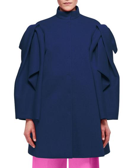 Draped-Sleeve Single-Breasted Coat, Blue