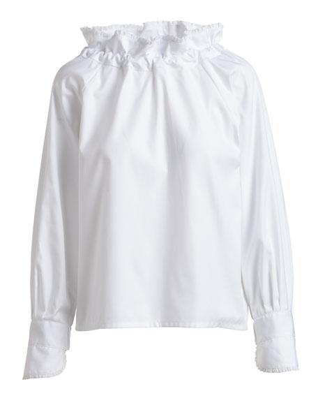Boheme Ruffle-Neck Poplin Blouse, White
