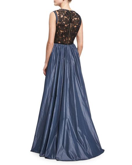 Beaded Evening Gown with Taffeta Skirt, Black/Smoke Gray