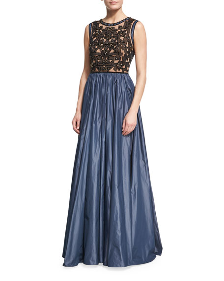 Jenny Packham Beaded Evening Gown with Taffeta Skirt,