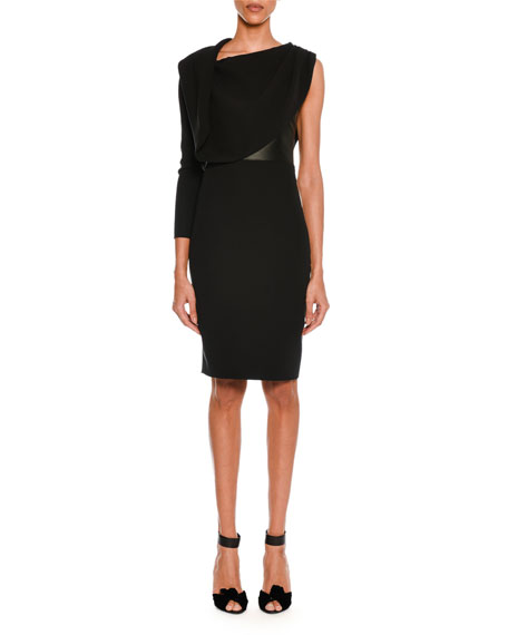 TOM FORD One-Sleeve Draped Silk Dress with Leather