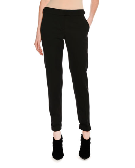 TOM FORD Slim-Fit Gabardine Cuffed Pants, Black and