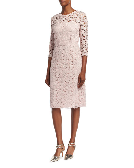 Escada Lace 3/4-Sleeve Sheath Dress, Camellia