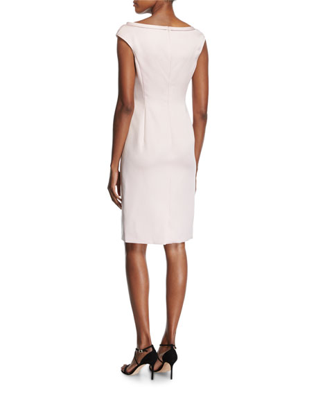 Duchesse Satin Boat-Neck Cap-Sleeve Sheath Dress