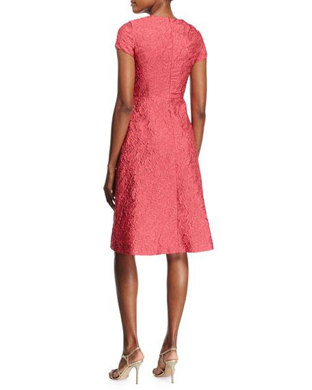 Floral Matelasse Short-Sleeve Dress, Pink Myrtle