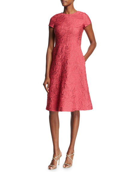 Escada Floral Matelass?? Short-Sleeve Dress, Pink Myrtle
