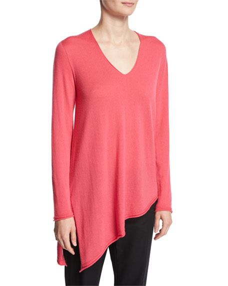 Cashmere V-Neck Asymmetric Sweater