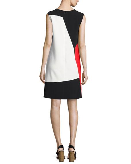 Colorblock Sleeveless Shift Dress, Black