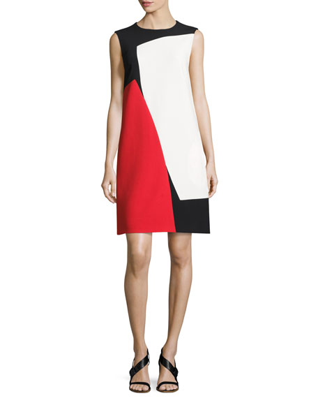Escada Colorblock Sleeveless Shift Dress, Black