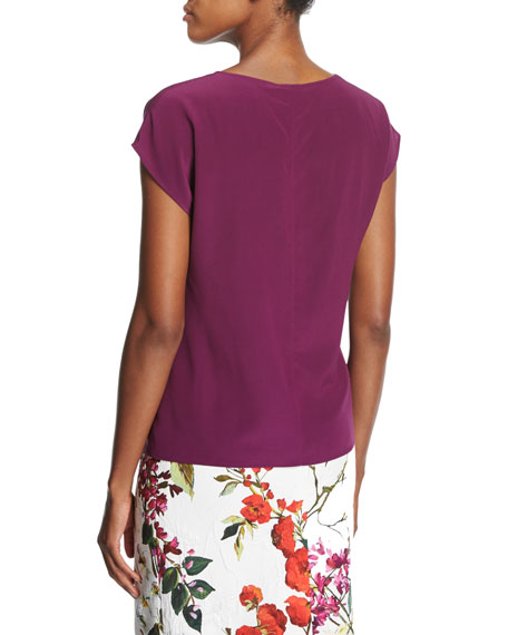 Cowl-Neck Cap-Sleeve Silk Blouse, Purple
