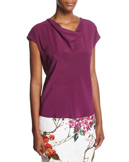 Escada Cowl-Neck Cap-Sleeve Silk Blouse, Purple