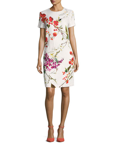 Floral-Print Matelasse Sheath Dress