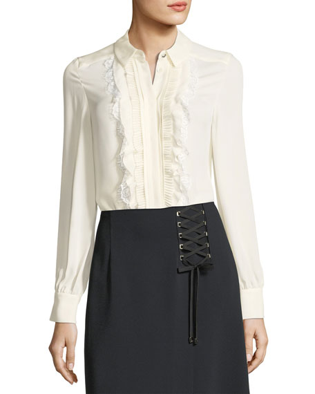 Ruffled Lace-Bib Silk Shirt