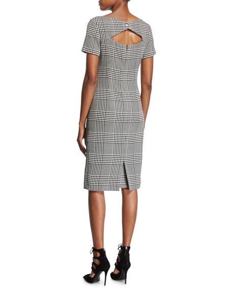 Glen Plaid Short-Sleeve Sheath Dress, Black