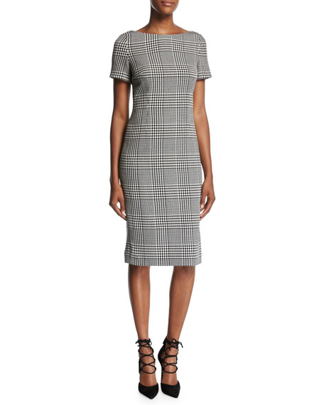 Escada Glen Plaid Short-Sleeve Sheath Dress, Black