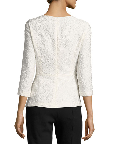 Sequined Floral Matelasse Top, Off White