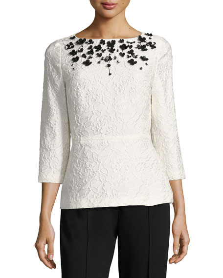 Escada Sequined Floral Matelasse Top, Off White and