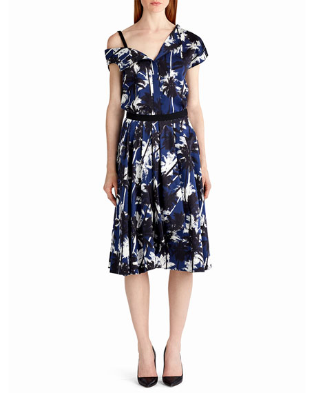 Jason Wu Pop Palm-Print Skirt, Blue Pattern and