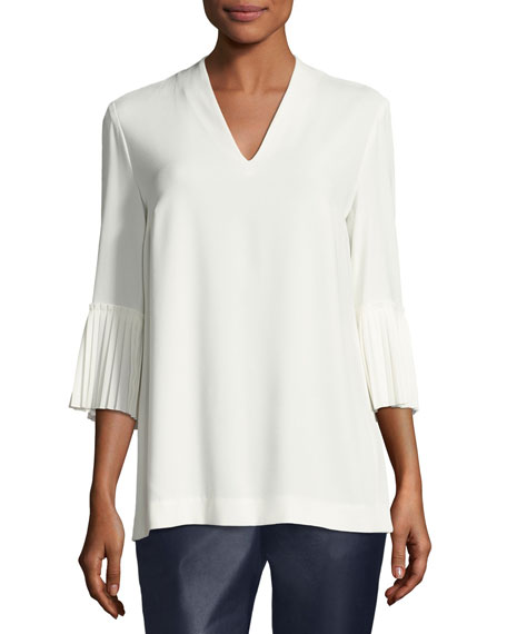 Escada Pleated-Sleeve Crepe V-Neck Blouse and Matching Items