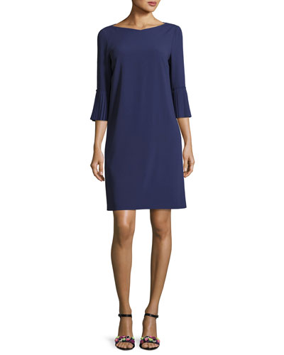 Pleated-Sleeve Shift Dress, Deep Sea