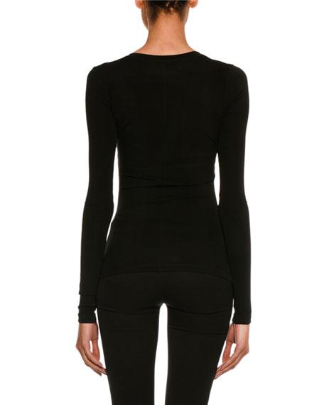 Stretch-Jersey Long-Sleeve V-Neck Top