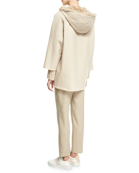 Cashmere Zip-Front Parka with Mink Fur Hood, Camel