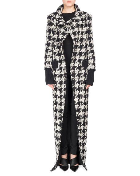 Long Oversized Houndstooth Coat, Black/White