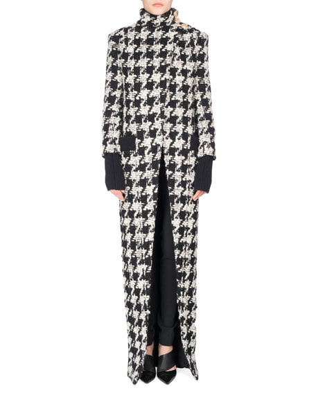 Balmain Long Oversized Houndstooth Coat, Black/White