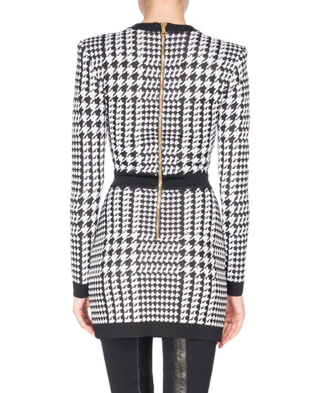 Long-Sleeve Houndstooth Minidress, Black/White