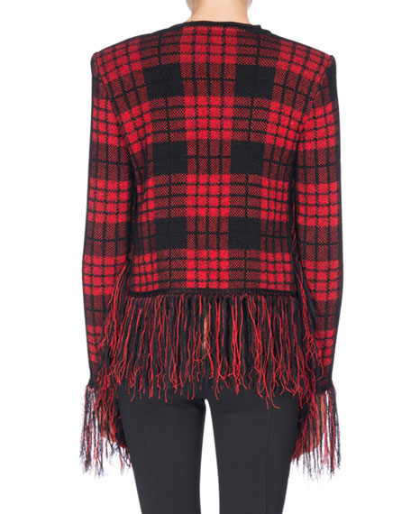 Tartan Tweed Jacket with Fringe, Black/Red
