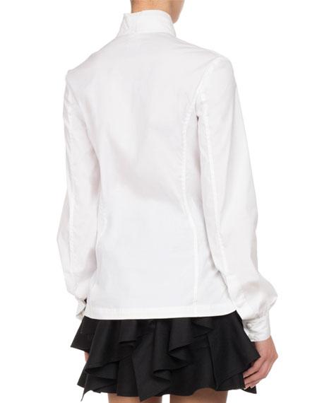 Button-Front Poplin Wrap Blouse, White