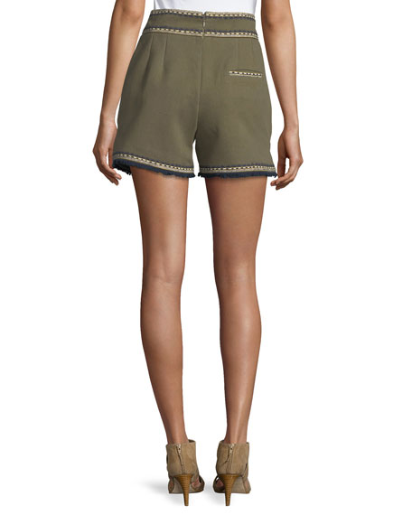 Embroidered High-Waist Shorts