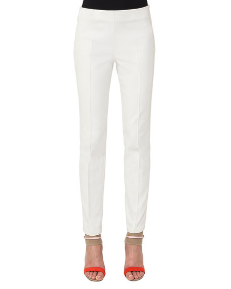 Akris Melissa Ankle-Zip Skinny Pants, Ivory and Matching