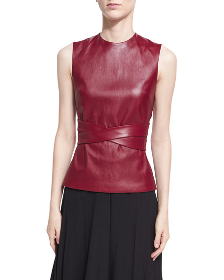 Rosetta Getty Leather Apron-Front Vest, Dark Red and