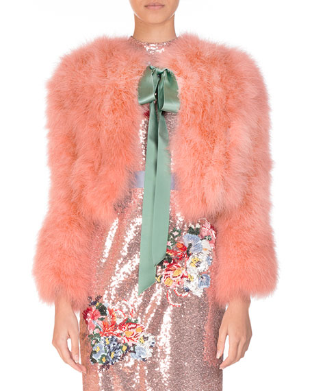 Marabou Feather Chubby Jacket with Satin Bow, Pink