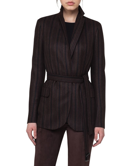 Lei Striped Cashmere Belted Jacket
