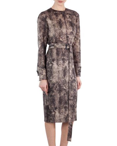 Shearling-Print Wool Belted Dress